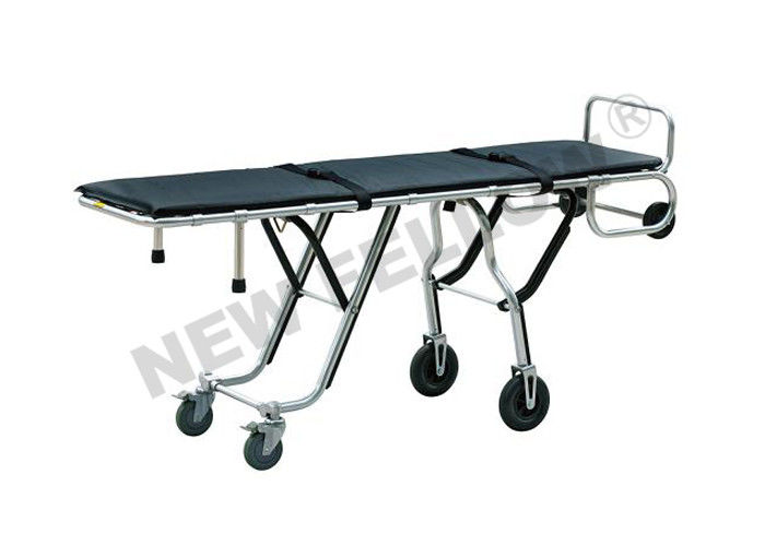 Multi - level Aluminum Alloy Funeral Stretcher Trolley With Wide Rubber Castors