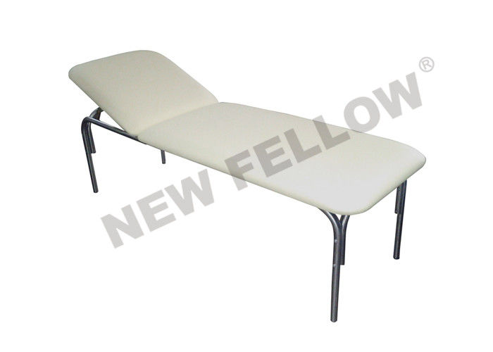White Medical Patient Hospital Examination Table With Stainless Steel Round Tube